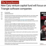 N&O: New Cary Venture Capital Fund Will Focus on Triangle Software Companies