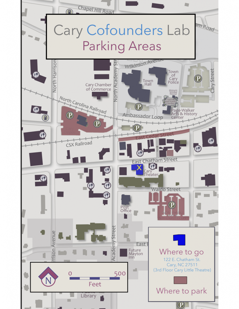 Cary Cofounders Lab Parking Map